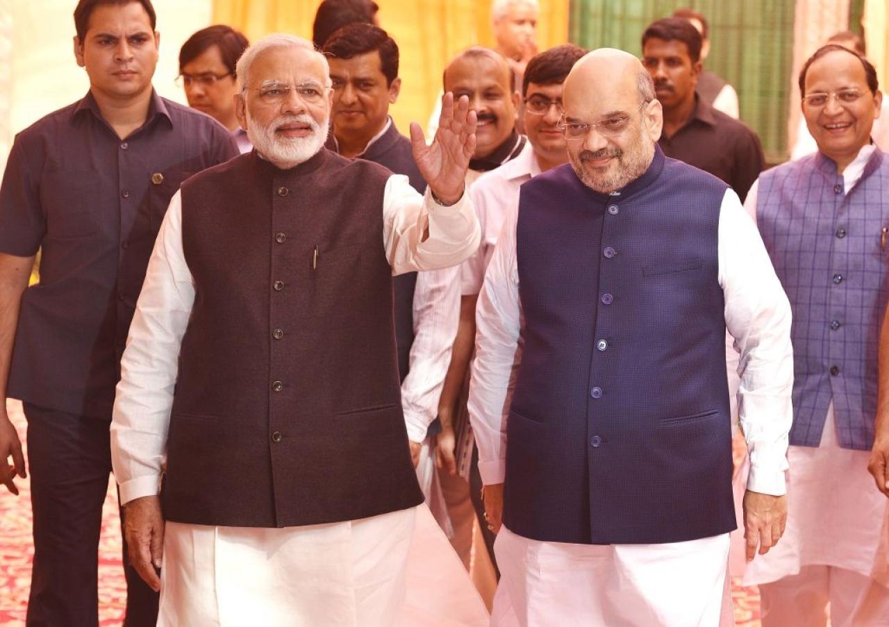 Prime Minister Narendra Modi and BJP president Amit Shah. (Raj K Raj/Hindustan Times via Getty Images)