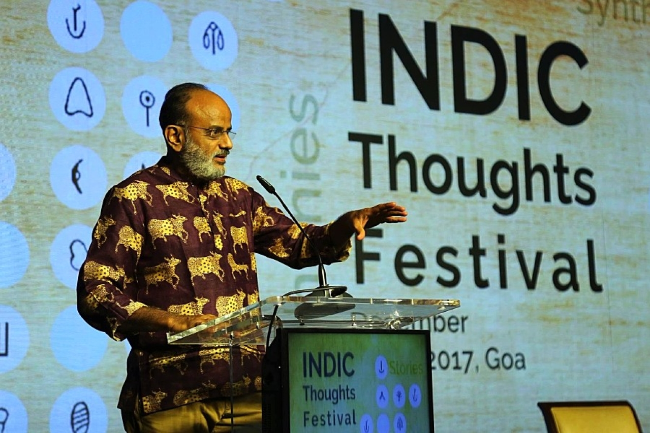 (Hari Kiran Vadlamani at Indic Thoughts Festival, Goa 2017. Photo by India Foundation)