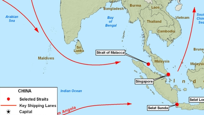 China's critical sea-lanes passing through the Maldives. (Perry-Castañeda Library Map Collection)