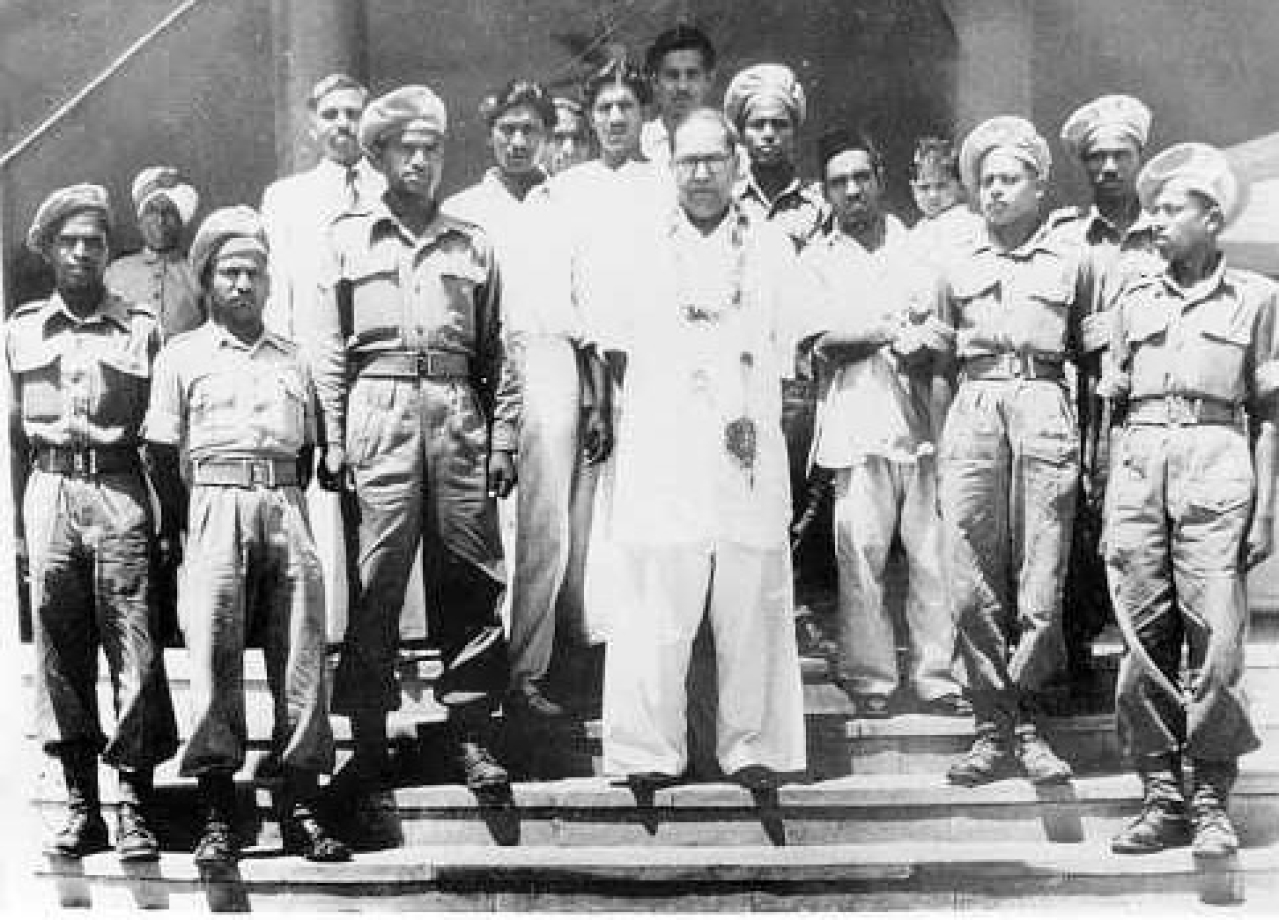 Dr Ambedkar with Mahar Regiment soldiers, 1950