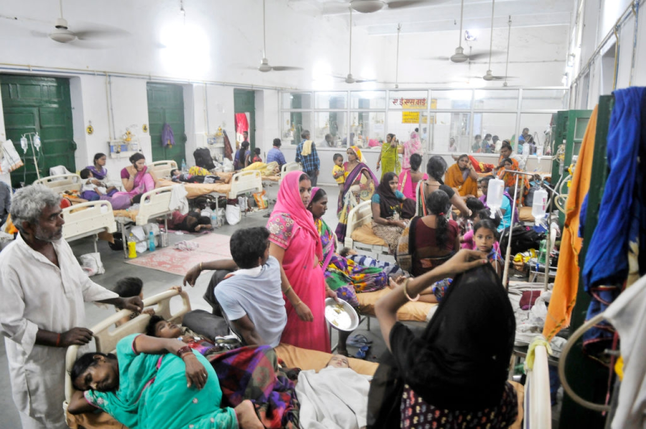 Patients at a government-run hospital. (Deepak Gupta/Hindustan Times via Getty Images)
