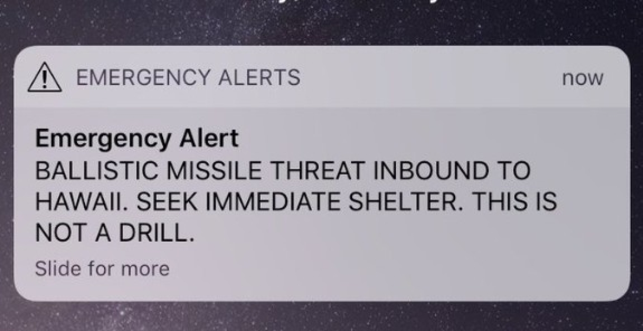 Hawaii: Officials Accidentally Send Inbound Missile Warning