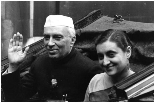 India's first Prime Minister Jawaharlal Nehru (1869 - 1964), with his daughter Indira Gandhi (Monty Fresco/Topical Press Agency/Getty Images)