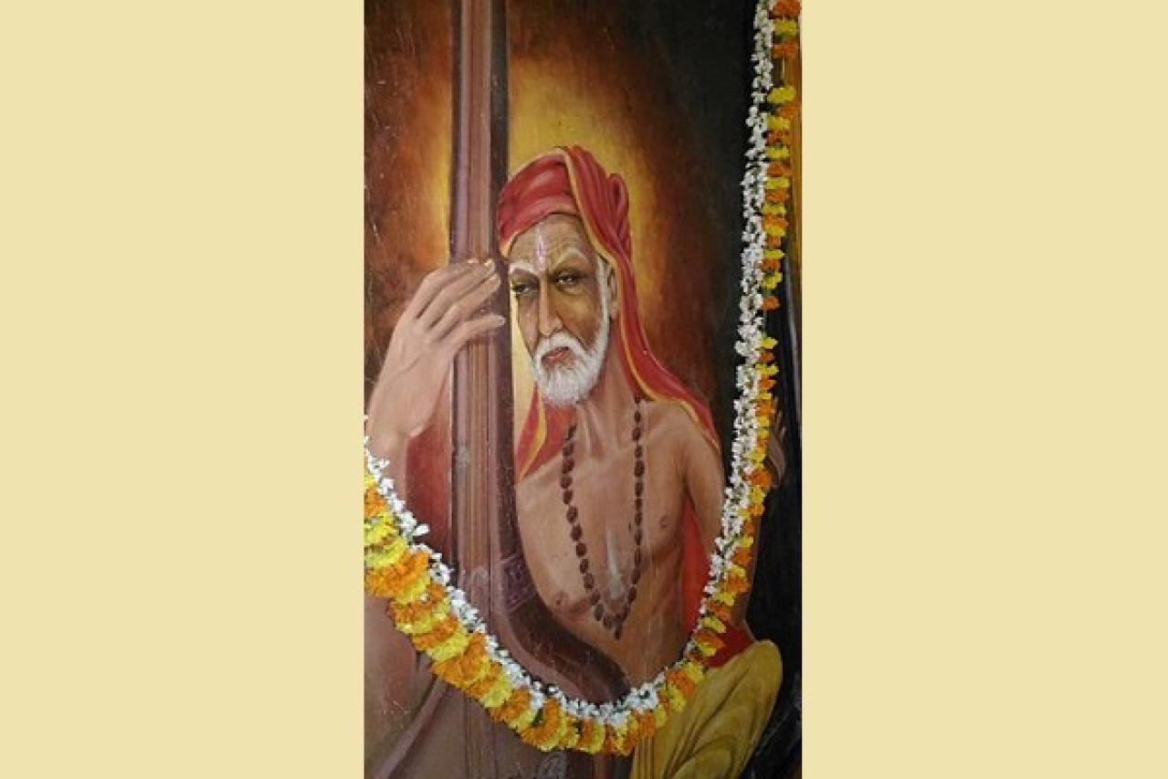 An oil painting of Tyagaraja by Pallava Narayanan Kanhangad (Vijayanrajapuram/Wikimedia Commons)