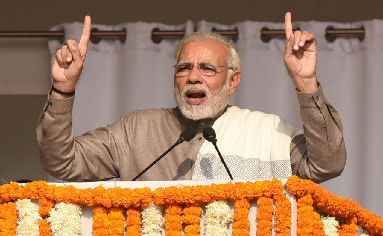 Prime Minister Narendra Modi speaking at an event in Noida. (Virendra Singh Gosain/Hindustan Times via GettyImages)