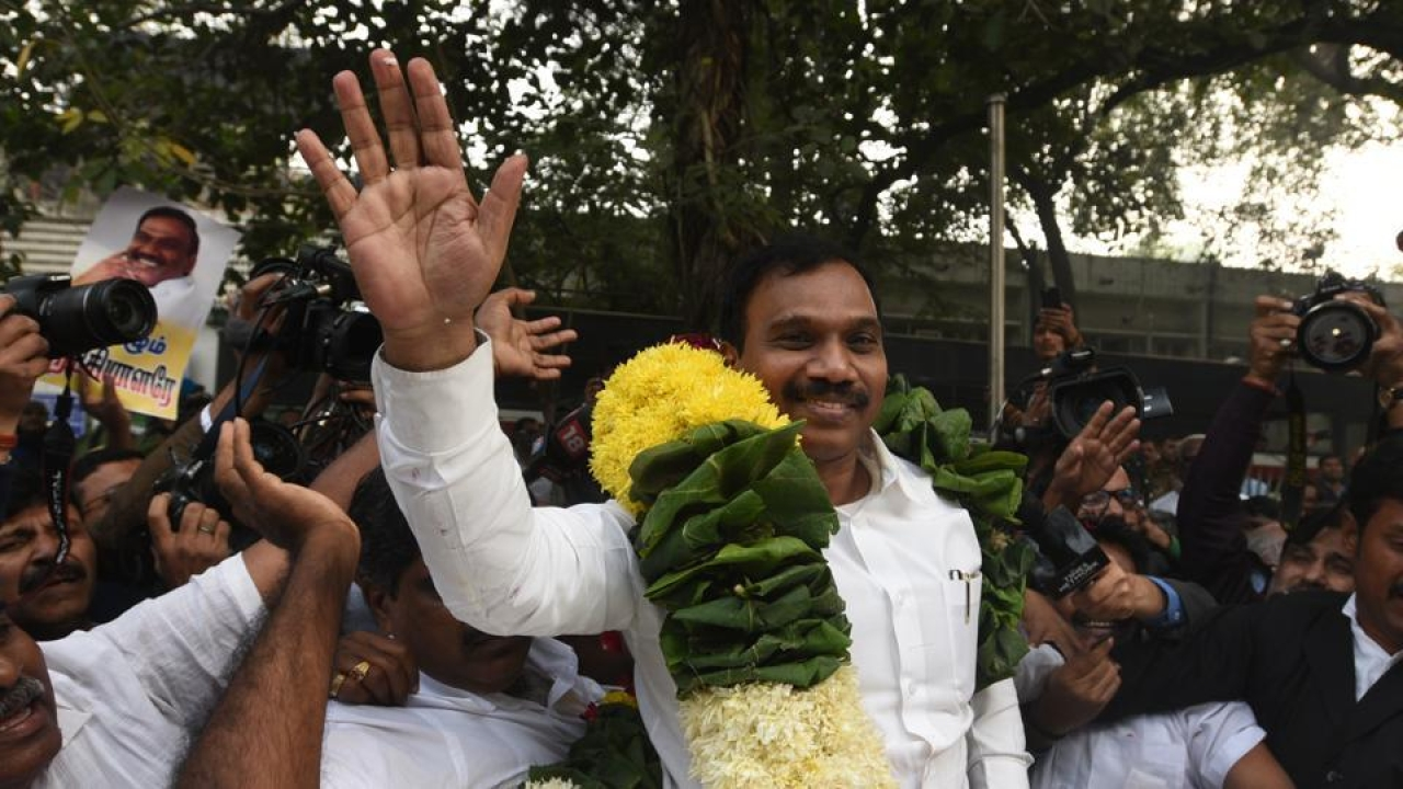 Former Union telecom minister A Raja with his supporters celebrating after 2G case verdict by Patiala House Court in New Delhi. (Sonu Mehta/Hindustan Times via Getty Images)