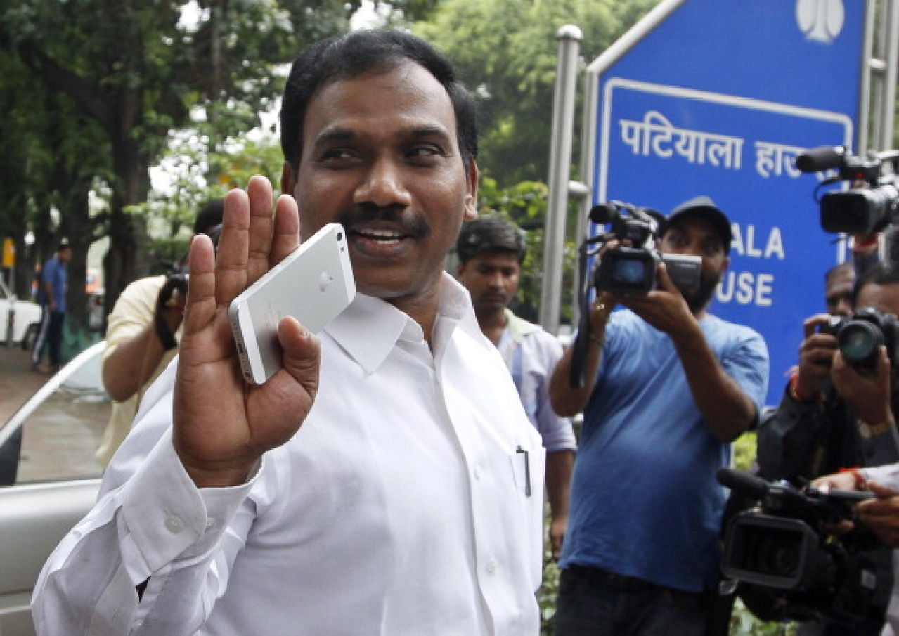 Former Union minister A Raja leaves the Patiala House Court complex after the hearing in the 2G case in New Delhi. (Sanjeev Verma/Hindustan Times via GettyImages)