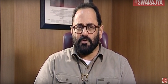 Rajeev Chandrasekhar during a chat with <i>Swarajya</i>