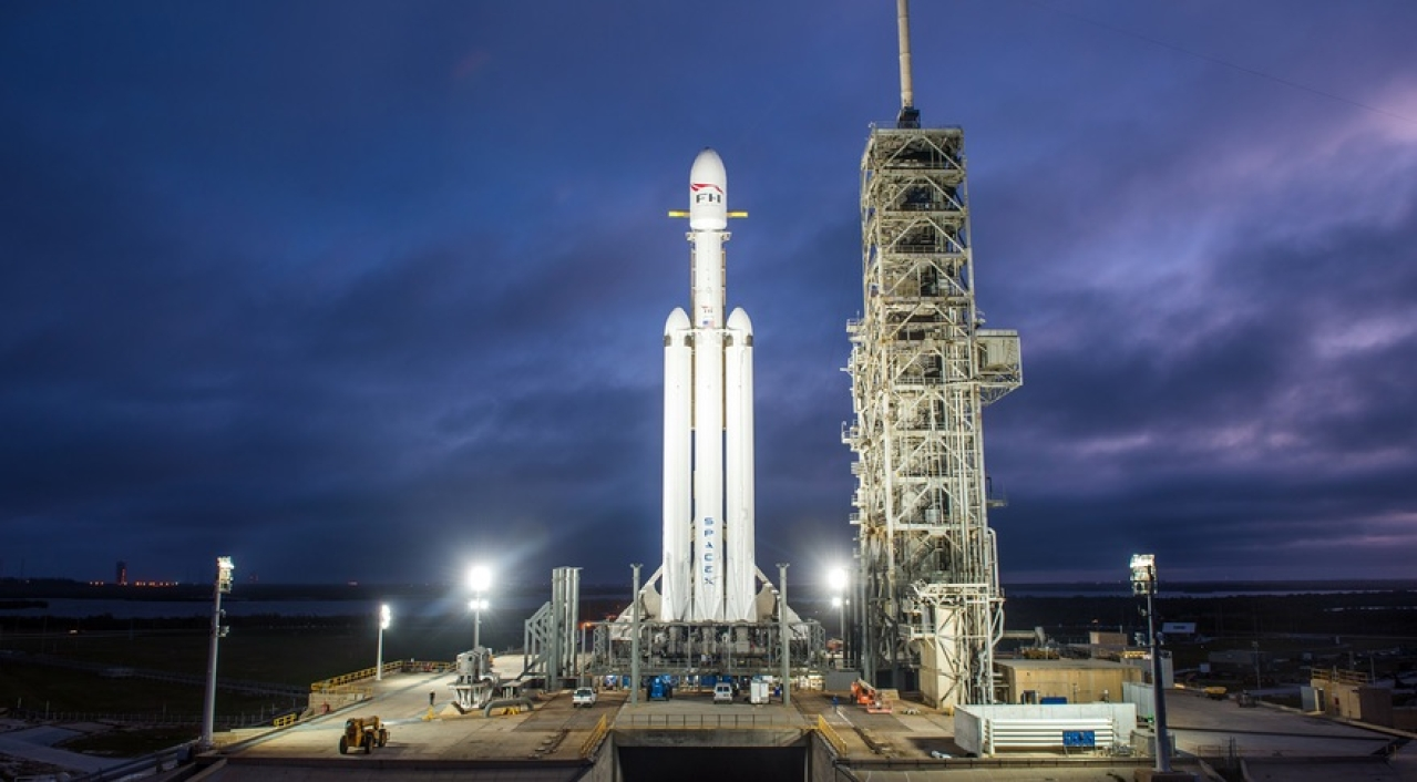 (Falcon Heavy at the launch pad, Photo by SpaceX)