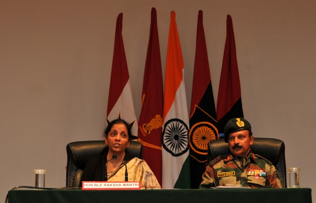 Defence Minister Nirmala Sitharaman addressing at a press conference on terror on 12 February 2018 (Nitin Kanotra /Hindustan Times via Getty Images)