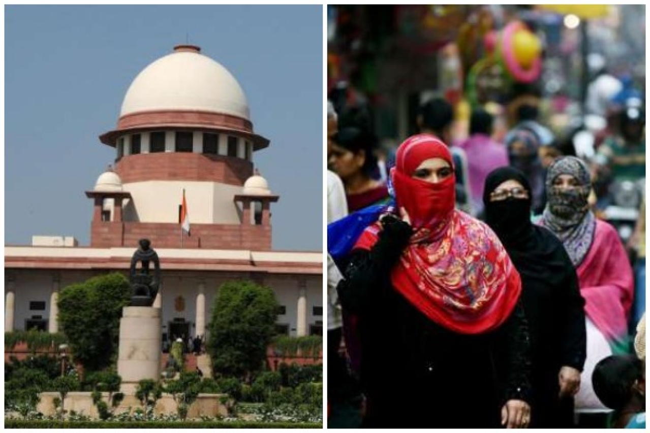 A view of the Supreme Court and Muslim women walk across a busy street in New Delhi.