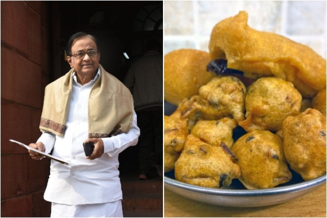 P Chidambaram (Sushil Kumar/Hindustan Times via Getty Images) and pakoras (Shahid Ahmed Siddiqi/flickr.com)