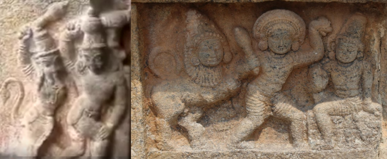 Purusha Mirugham chasing Bhima  and then with Yudhistra giving justice (Left: Munchirai Siva temple, Kanyakumari district; Right: Iravatheeswara temple, Darasuram)