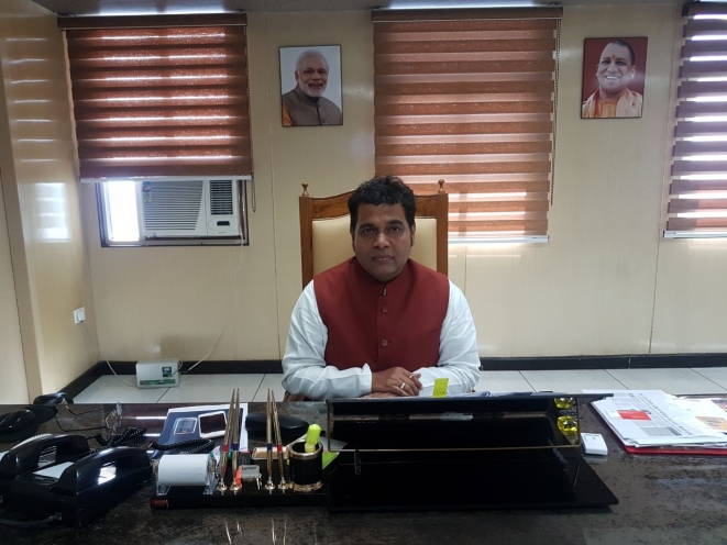 Sharma in his office in Lucknow's Shakti Bhawan.