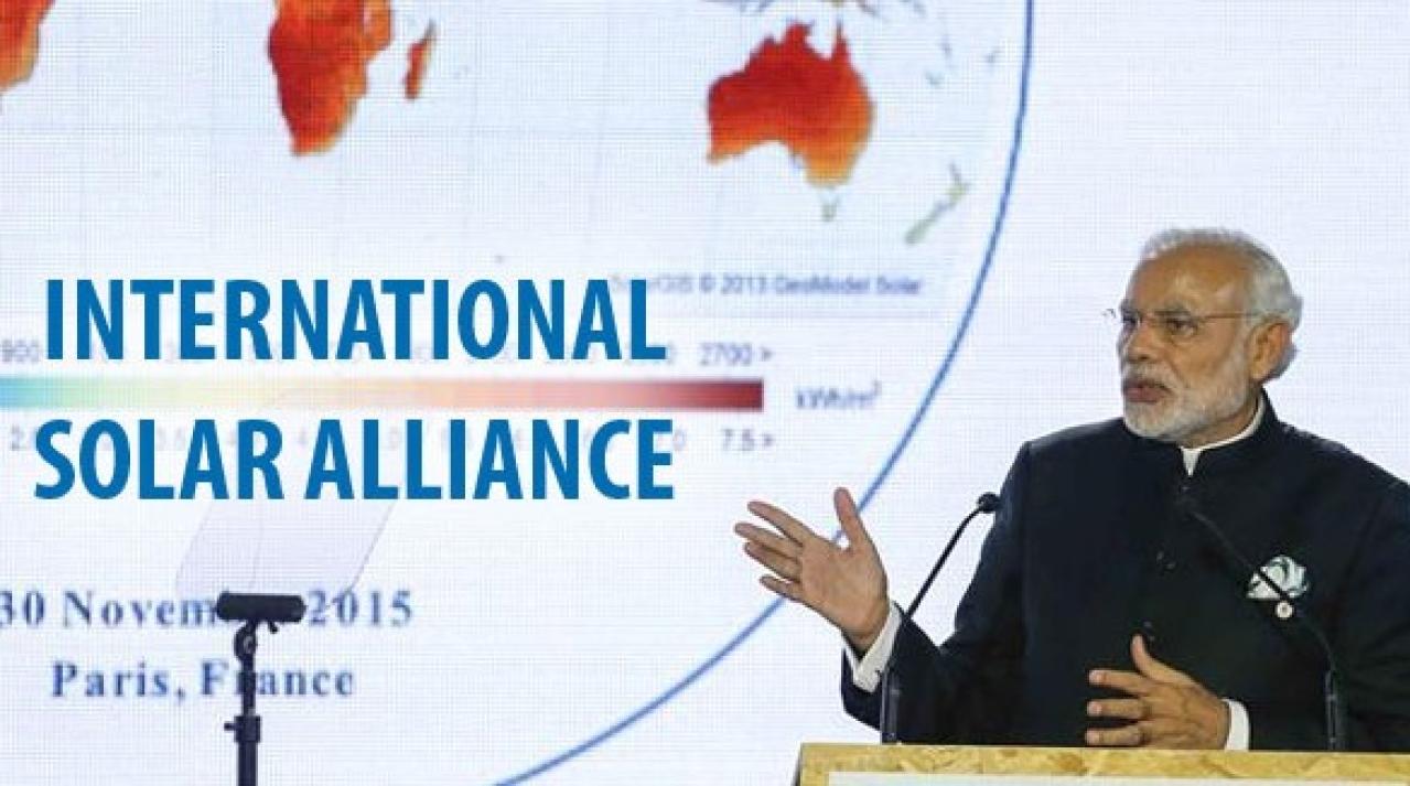 Prime Minister Narendra Modi speaking at the launch of International Solar Alliance.