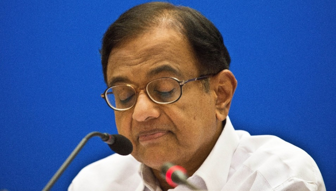 P Chidambaram at a press conference. (Prakash Singh/Getty Images)
