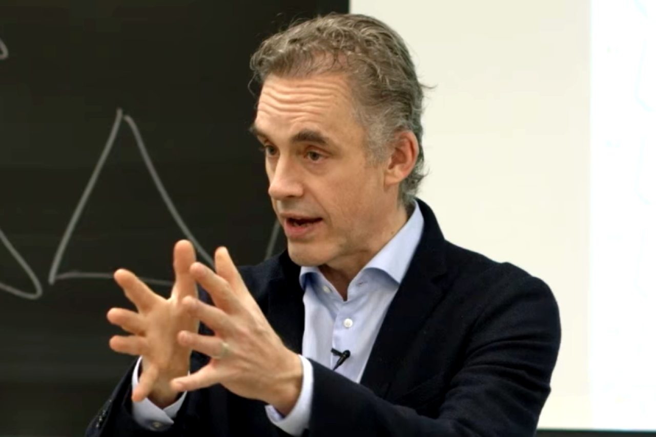 Dr Jordan Peterson delivering a lecture at the University of Toronto in 2017.