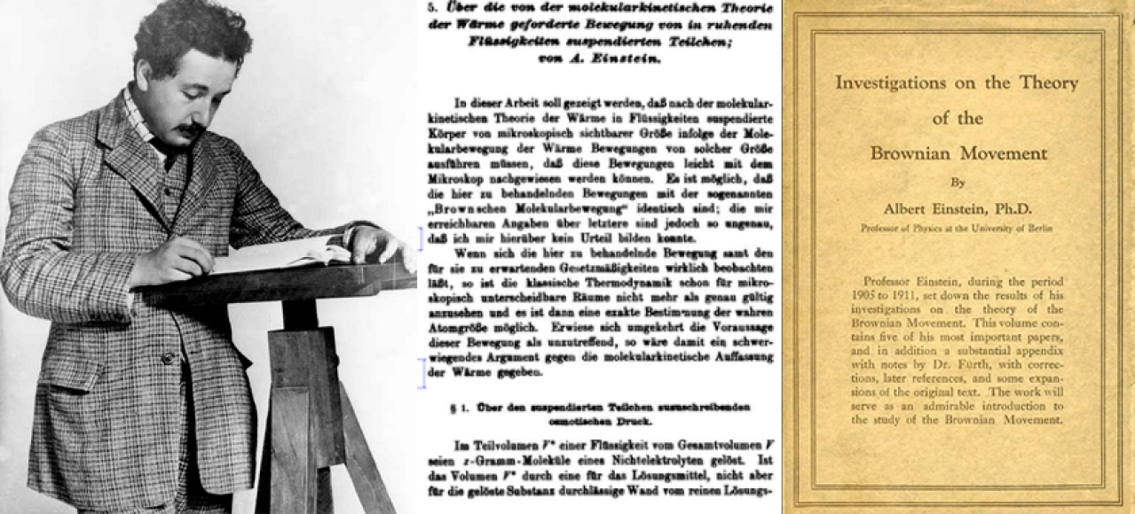 Albert Einstein (around 1905-1908) and his paper on Brownian movement along with the English translation.