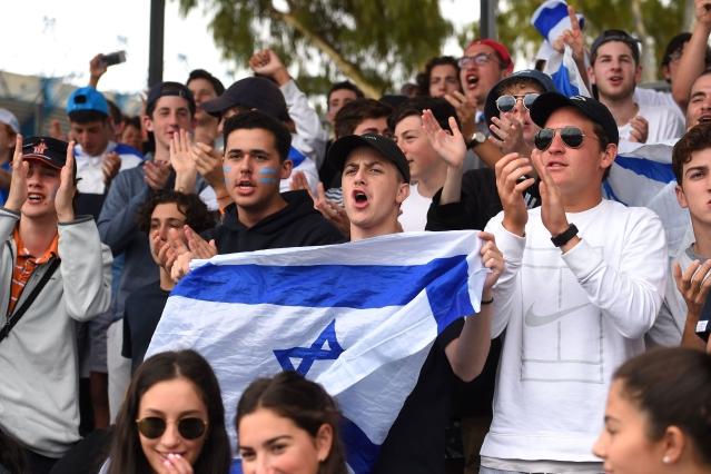 Israeli tennis fans in Australia. (Jaimi Chisholm/GettyImages)