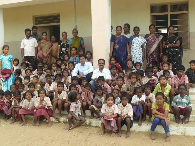 Teachers and students of the gurukulam