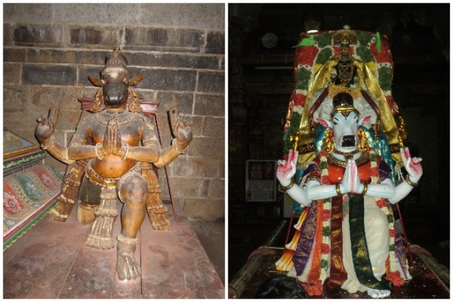 The <i>vahanam</i> before (L) and after (R) restoration