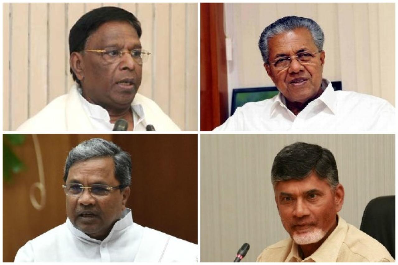 Clockwise: Puducherry Chief Minister V Narayanasamy, Kerala Chief Minister Pinarayi Vijayan, Andhra Pradesh Chief Minister Chandrababu Naidu and Karnataka Chief Minister Siddaramaiah