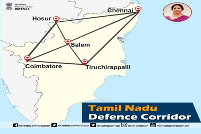 A depiction of the defence corridor (Graphic by @nsitharaman)