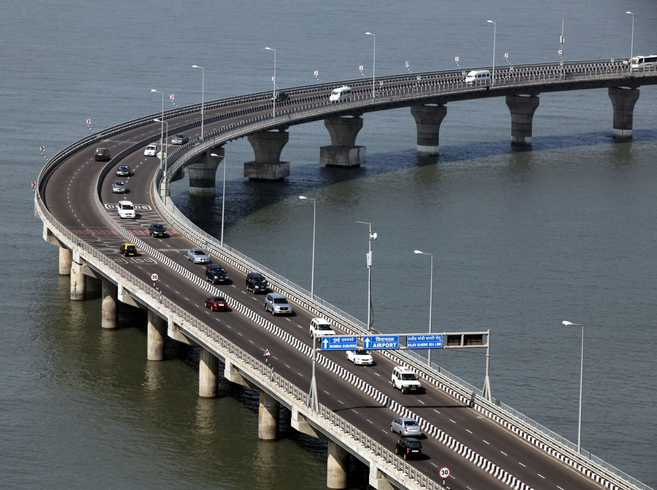 French President Nicolas Sarkozys convoy pass through Bandra-Worli Sea Link. (Kunal Patil/Hindustan Times via Getty Images)