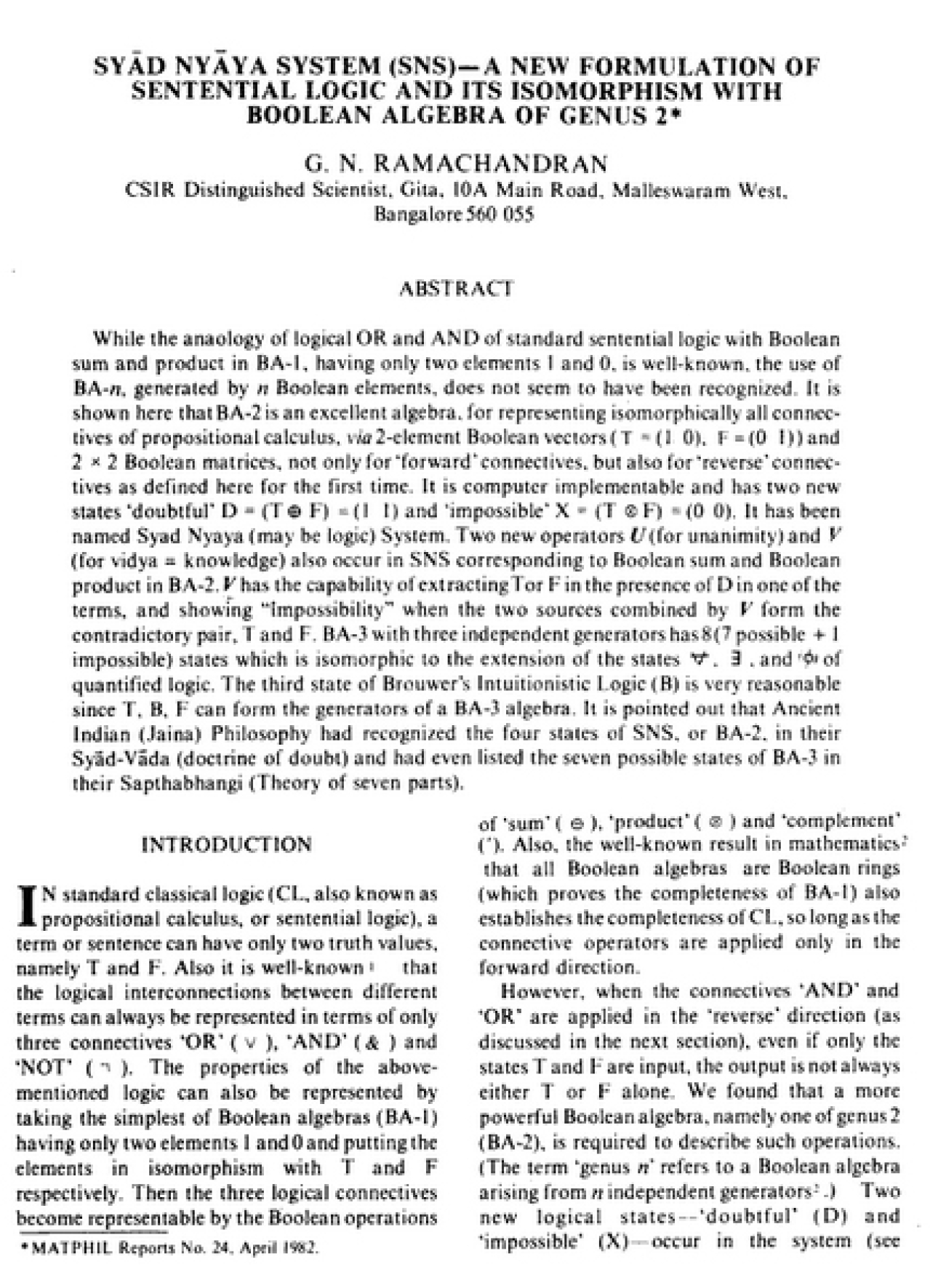 A paper in the journal <i>Current Science</i>