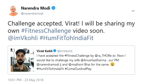 Prime Minister Modi Accepts Virat Kohli's Fitness Challenge On Twitter, To Post A Video Soon