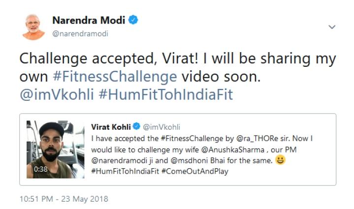 Prime Minister Modi Accepts Virat Kohli's Fitness Challenge On Twitter, To Post A Video Soon