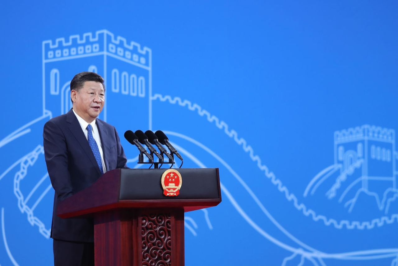 Chinese President Xi Jinping speaks during the 86th INTERPOL General Assembly at Beijing National Convention Centre, China.  (Lintao Zhang - Pool/Getty Images)