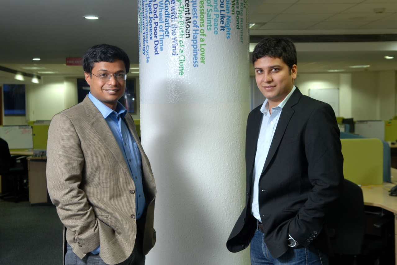 Sachin Basal with Binny Bansal. (Hemant Mishra/Mint via Getty Images)