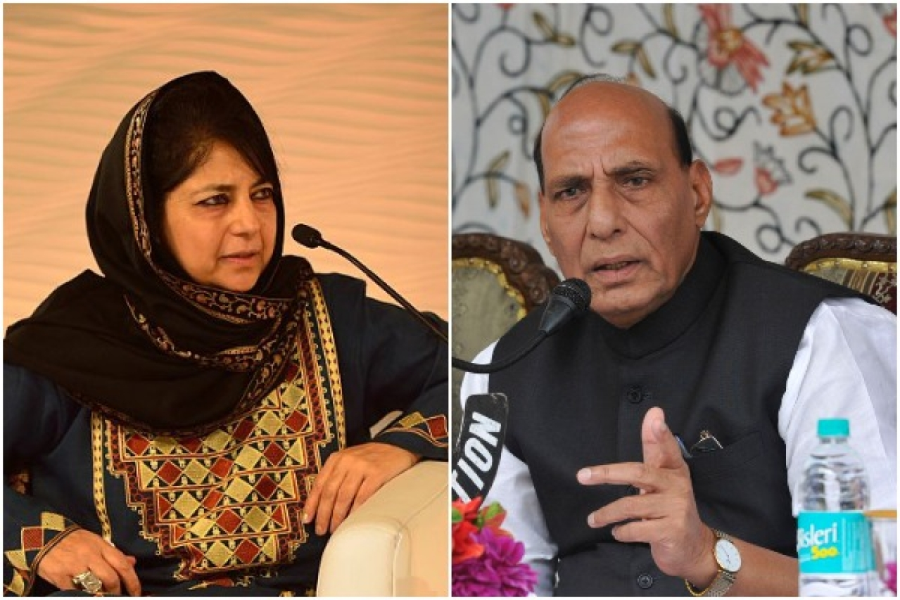 Chief Minister of Jammu and Kashmir Mehbooba Mufti (Left), Union Home Minister Rajnath Singh (Right)