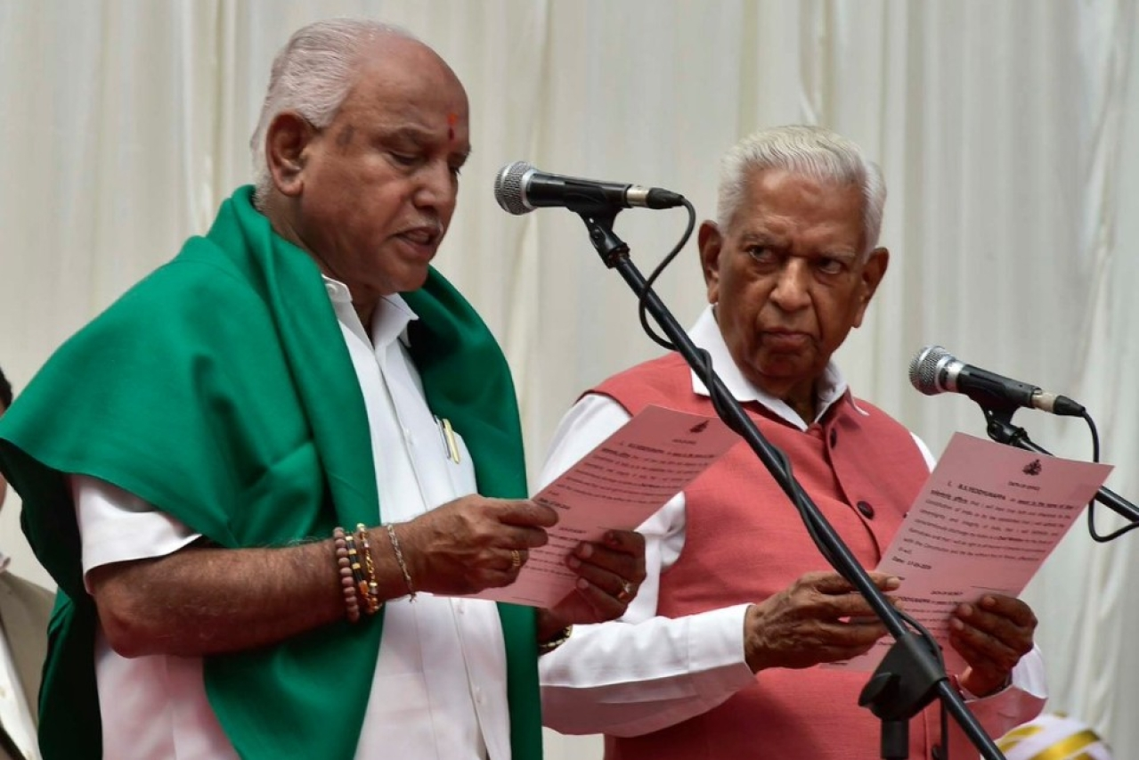 B S Yeddyurappa being sworn in as the Chief Minister of Karnataka