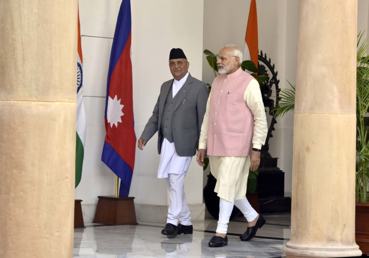 Prime Minister Narendra Modi with his Nepalese counterpart Khadga Prasad Sharma Oli before their meeting in New Delhi. (Sonu Mehta/Hindustan Times via Getty Images)