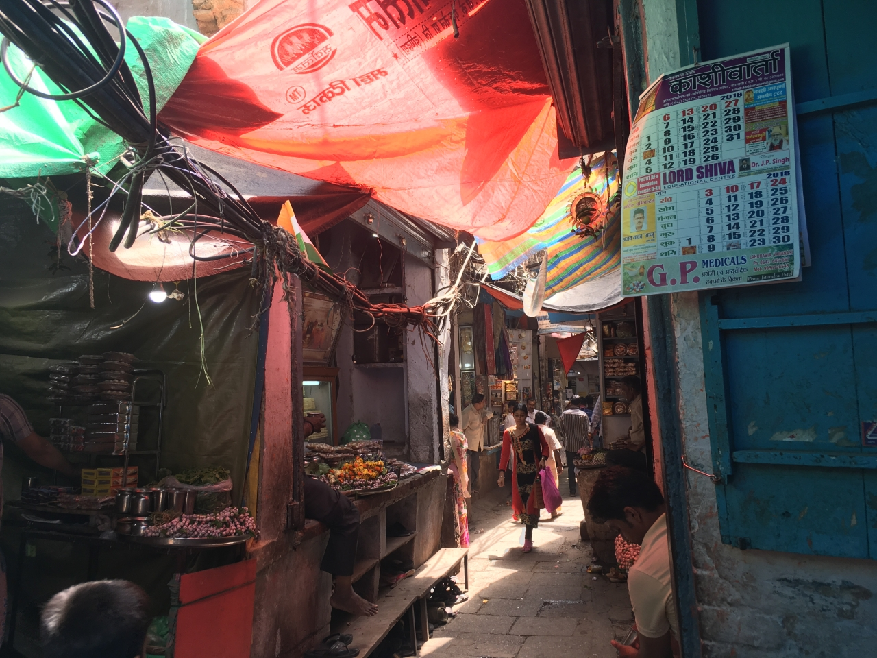 A narrow lane leading to Kaal Bhairav temple. Locals say the menace of dangling wires was much worse.