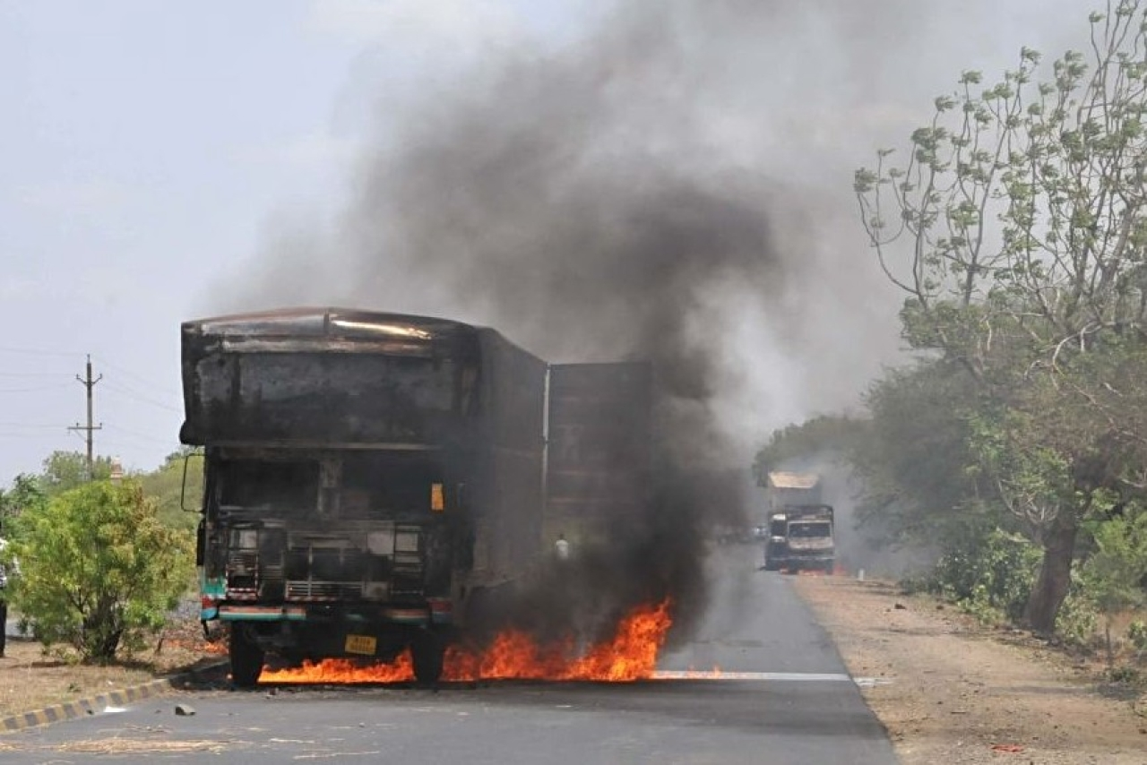 The farmers' protest that turned violent. (Mujeeb Faruqui/Hindustan Times via Getty Images)