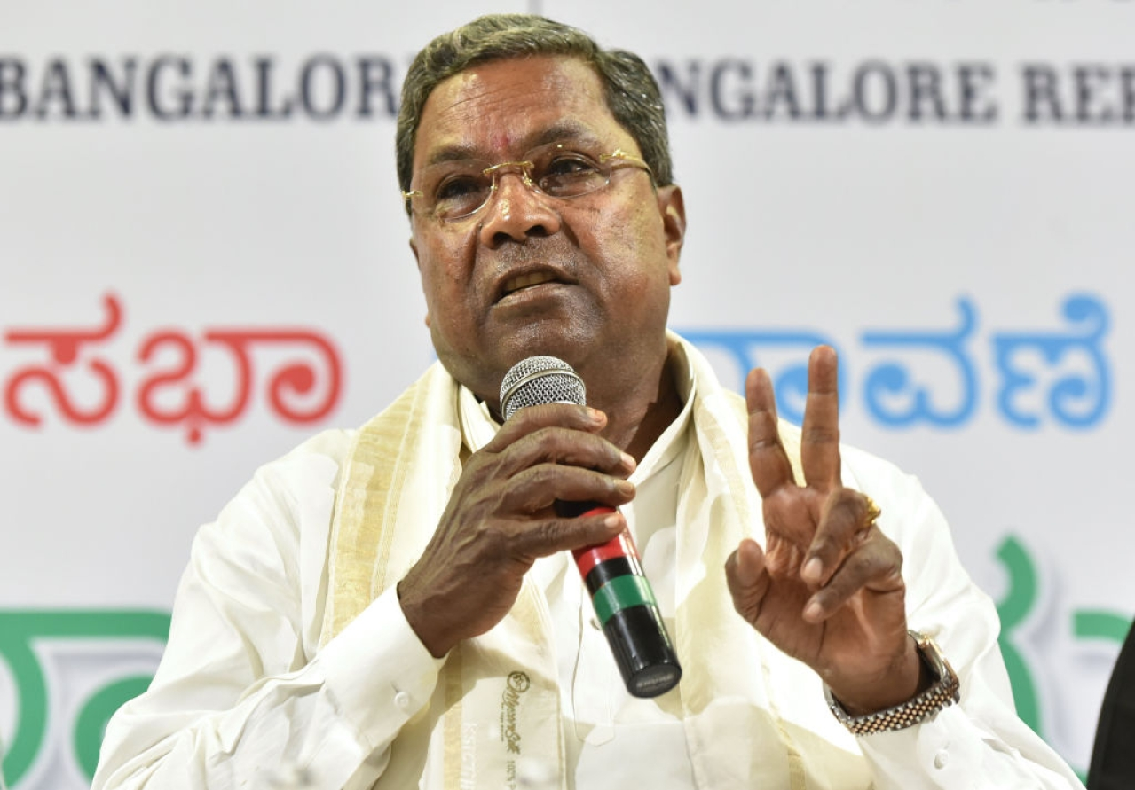 Karnataka Chief Minister Siddaramaiah at a press conference in Bengaluru. (Arijit Sen/Hindustan Times via GettyImages)