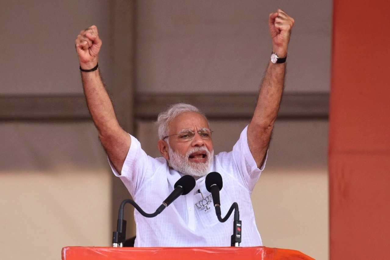 Prime Minister Narendra Modi during a political rally (Arijit Sen/Hindustan Times via GettyImages)