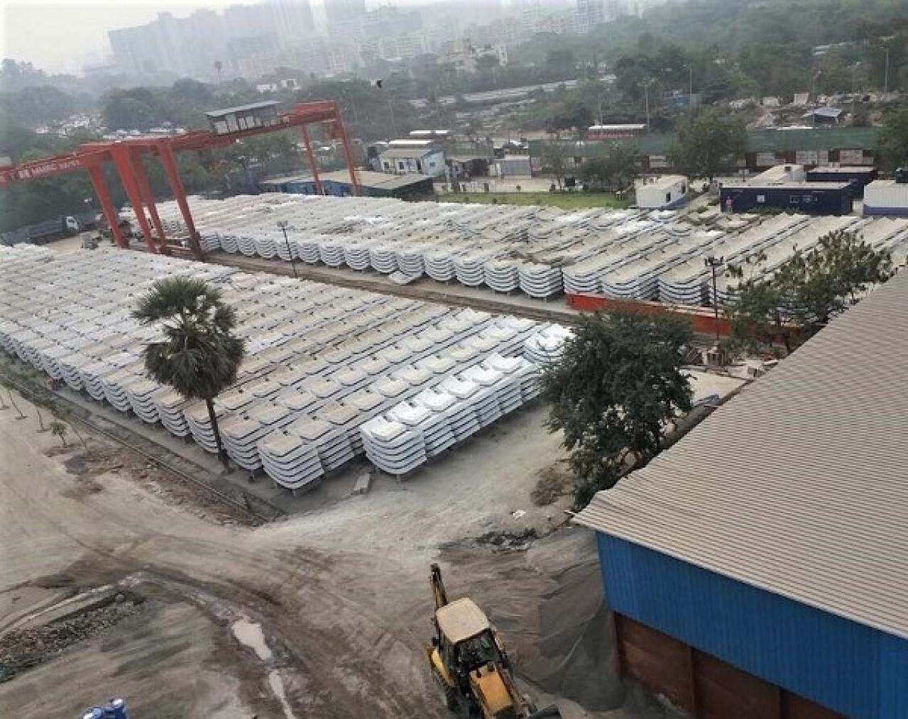 Tunnel rings at L&T-STEC's casting yard on the Jogeshwari-Vikhroli Link Road