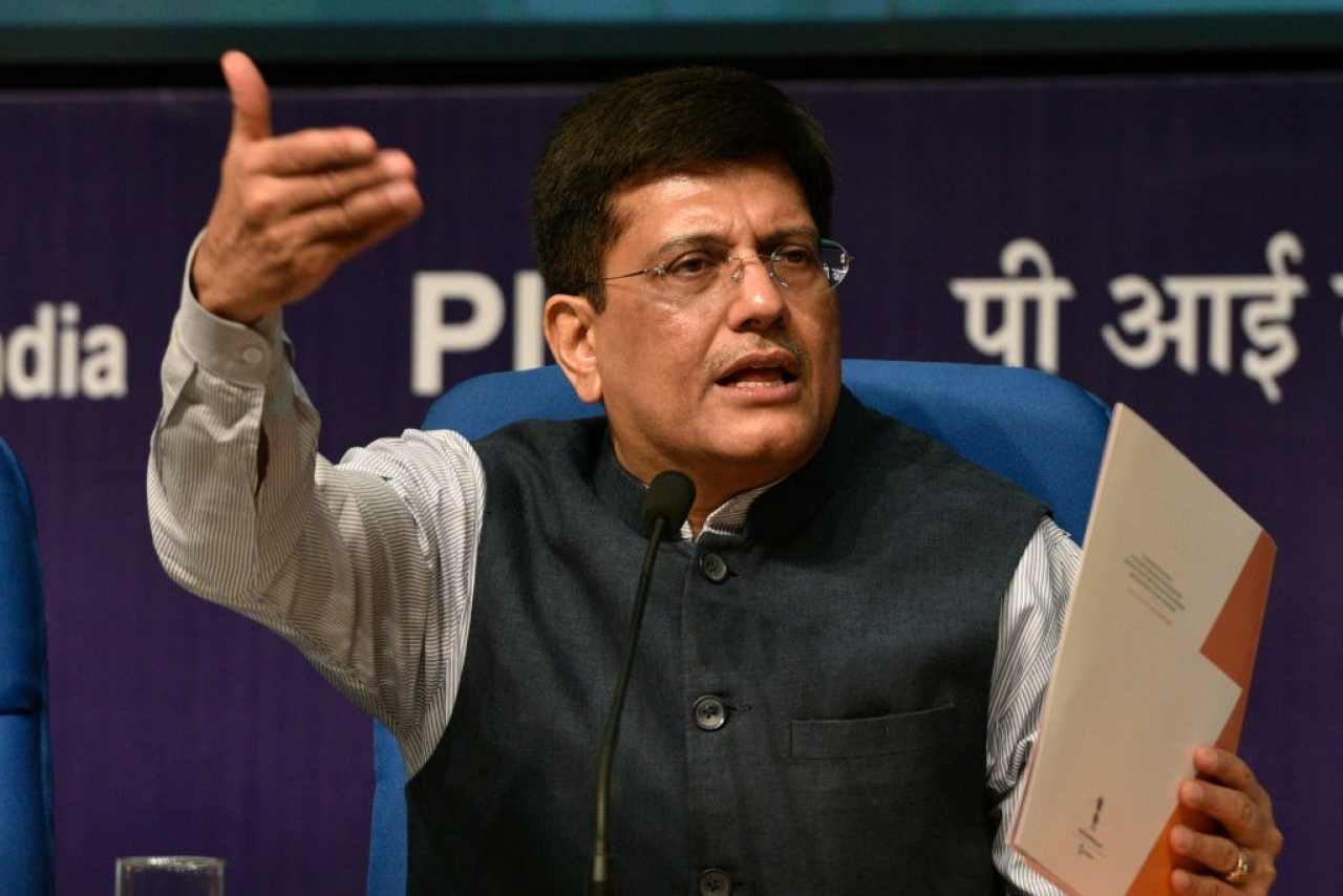 Stand-in Finance Minister Piyush Goyal. (Mohd Zakir/Hindustan Times via Getty Images)
