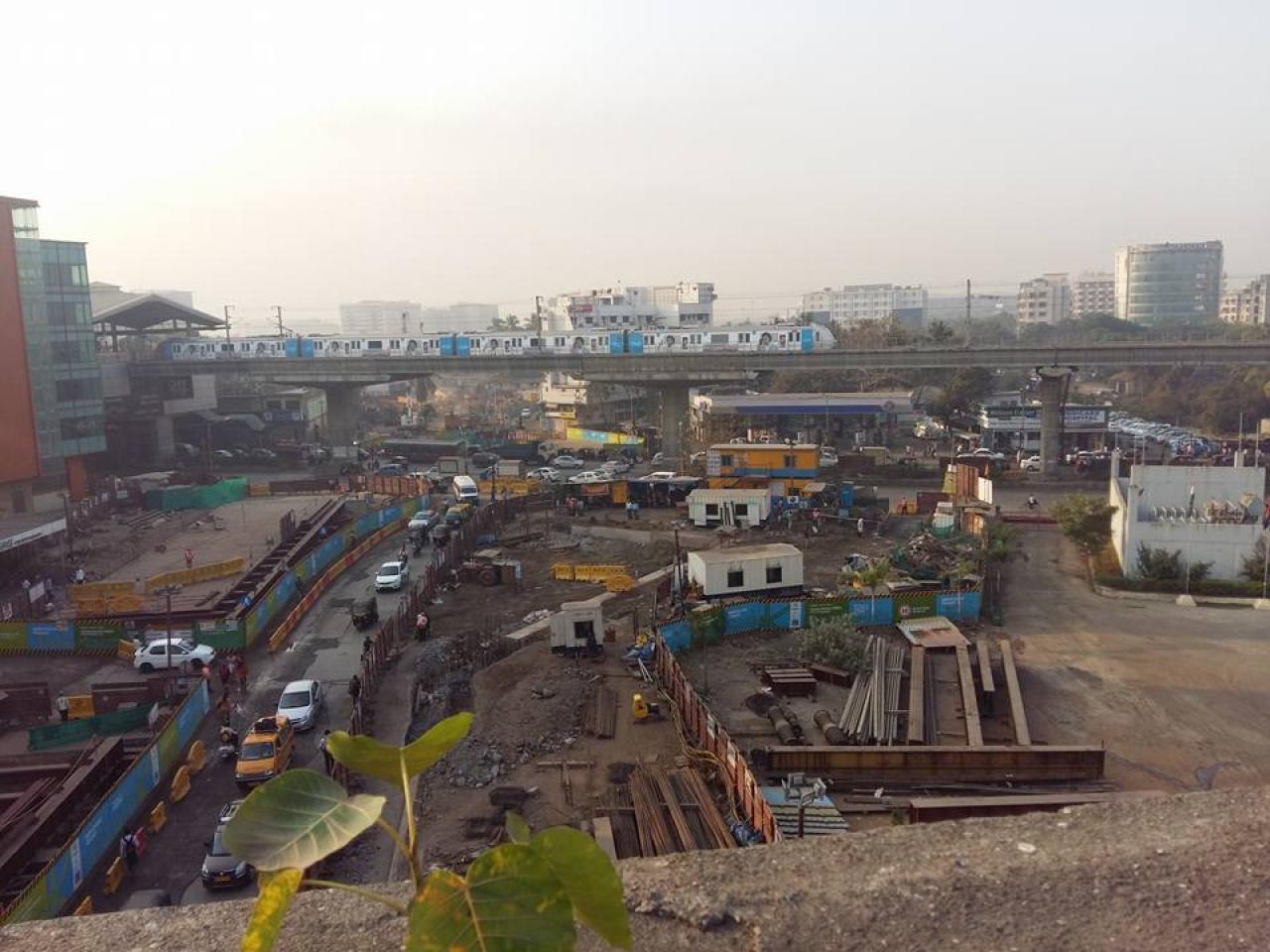 Marol Naka station under construction