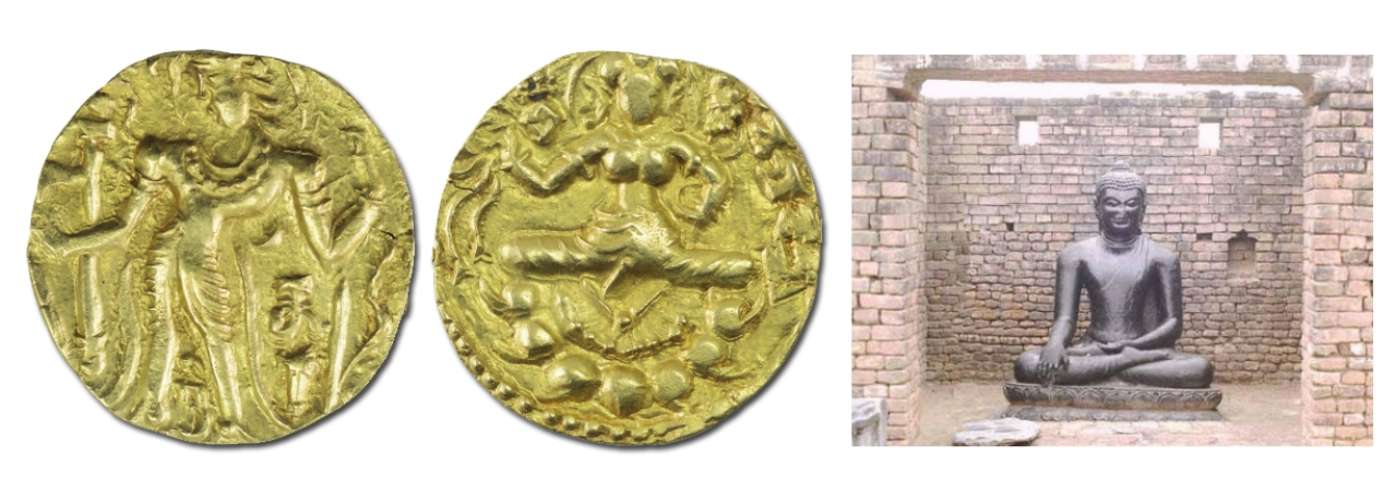 Coins of Narasimha Gupta or Baladitya show himself with Garuda standard and carry Goddess Lakshmi in the reverse. He also built a brick temple for the Buddha in Nalanda.