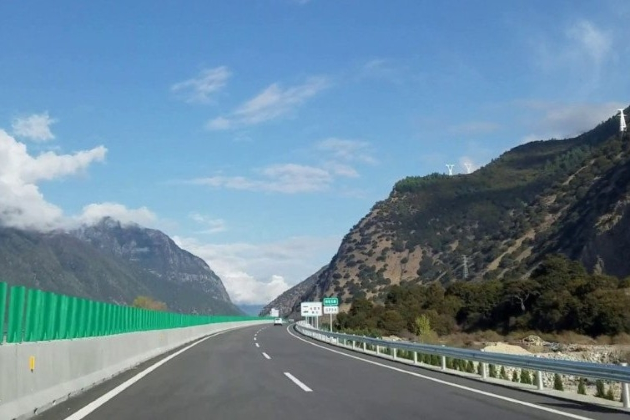 China's new Nyingchi-Lhasa highway in Tibet, close to border with India.