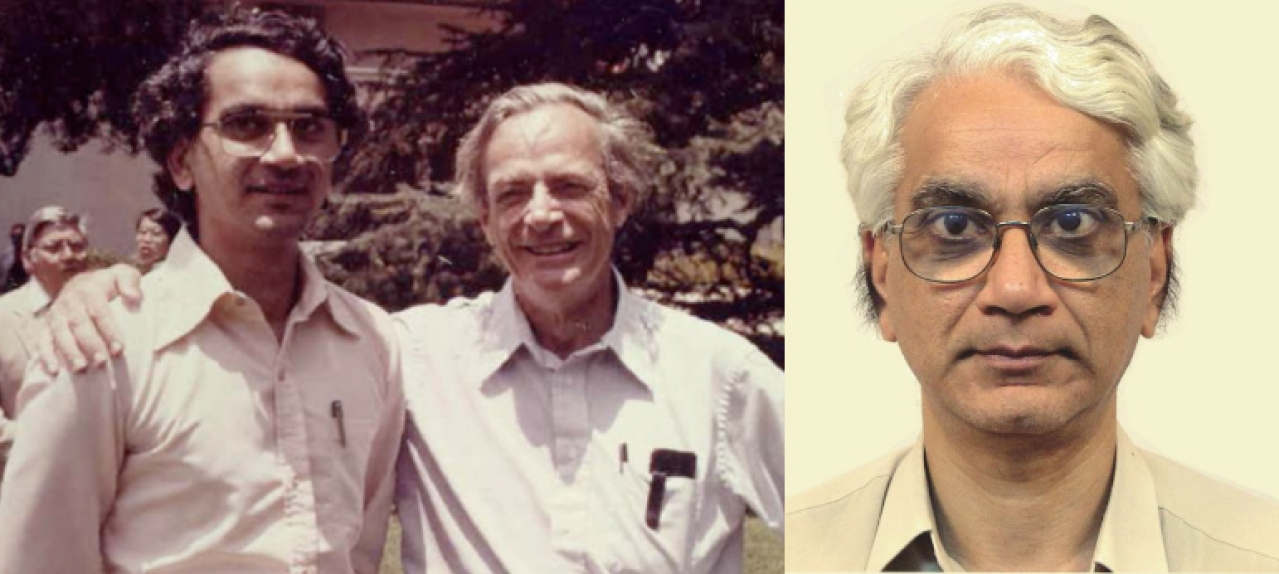 (Left) A young Dr Apoorva Patel with Richard Feynman, (right) and a recent picture of Dr Patel. If quantum processes are key to the evolution of life on Earth and elsewhere, then the contribution of Dr Patel becomes important in understanding the evolution of life in the universe.
