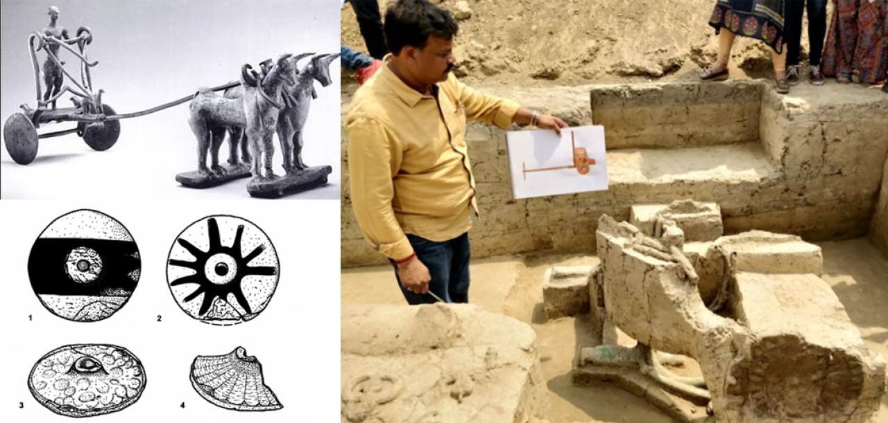 (left top: Harappan chariot bronze model, Delhi Museum ; left bottom: Harappan wheels including wheels with spokes (Kenoyer); Right: The recent discovery of chariot in the burial)