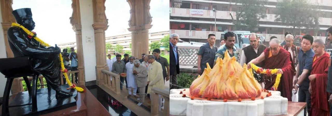 Former President Dr APJ Abdul Kalam offering tributes to RSS founder Dr. Hedgewar; His Holiness Dalai Lama at Guruji Golwalkar Samadhi.