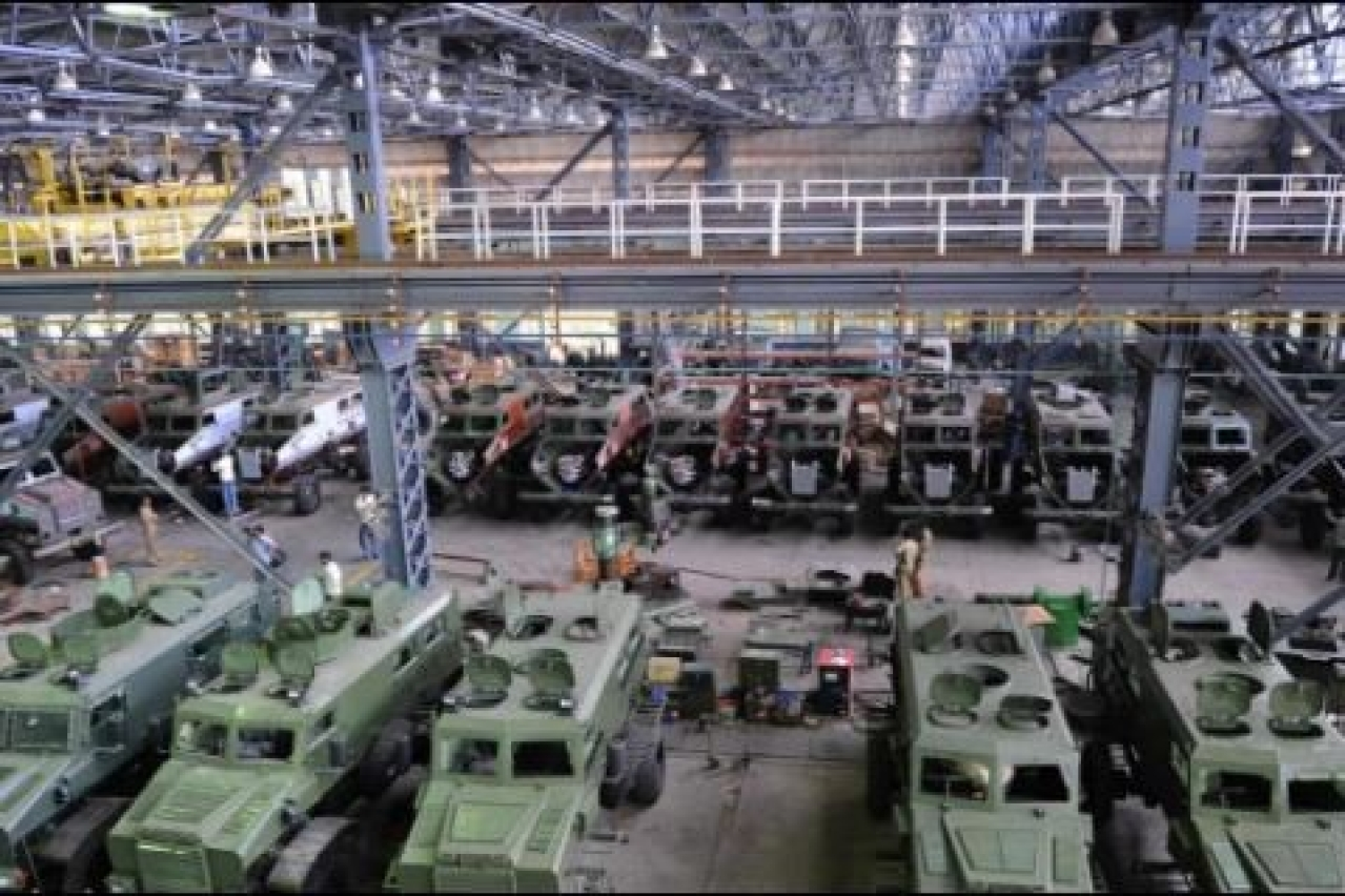 Mine Protected Vehicles (MPVs) at the Ordnance Factory in Medak, Telangana (NOAH SEELAM/AFP/GettyImages)