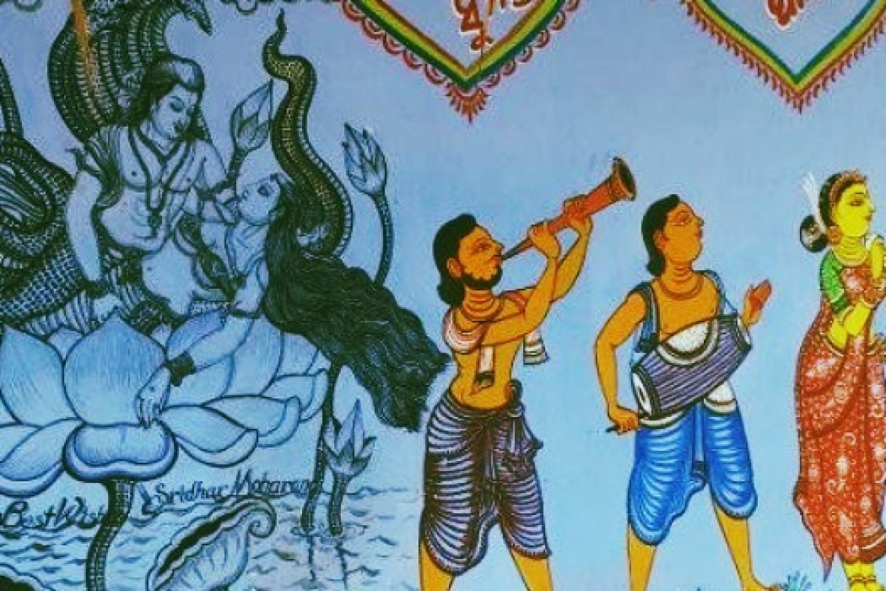 The wall of a house in Raghurajpur is painted in style